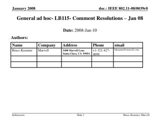 General ad hoc- LB115- Comment Resolutions – Jan 08