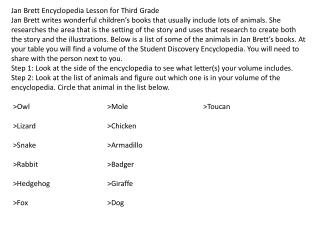 Jan Brett Encyclopedia Lesson for Third Grade