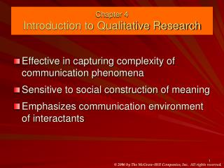 Chapter 4 Introduction to Qualitative Research