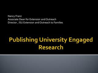 Publishing University Engaged Research