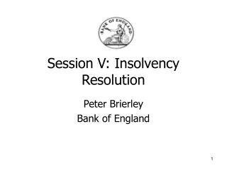 Session V: Insolvency Resolution
