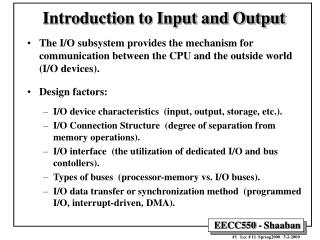 Introduction to Input and Output