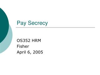 Pay Secrecy