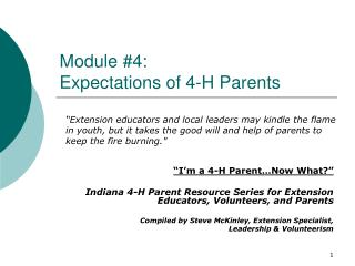 Module #4:   Expectations of 4-H Parents