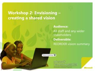 Workshop 2: Envisioning    creating a shared vision