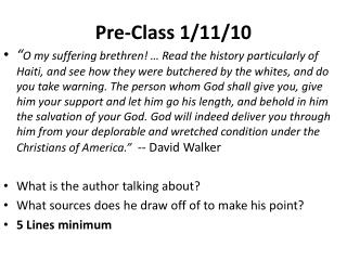 Pre-Class 1/11/10