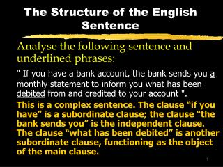 The Structure of the English Sentence