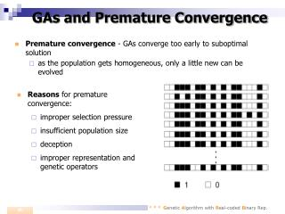 GAs and Premature Convergence