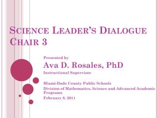 Science Leader's Dialogue Chair 3
