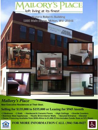 Historic Roberts Building  1095 Main Street, Milton, WV  25541