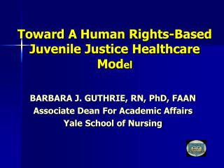 Toward A Human Rights-Based Juvenile Justice Healthcare Mod el