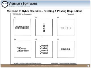 Welcome to Cyber Recruiter � Creating & Posting Requisitions
