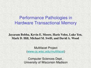 Performance Pathologies in  Hardware Transactional Memory