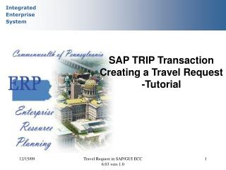 SAP TRIP Transaction Creating a Travel Request  -Tutorial