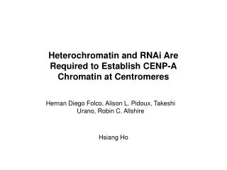 Heterochromatin and RNAi Are Required to Establish CENP-A Chromatin at Centromeres