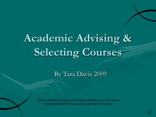 Academic Advising & Selecting Courses
