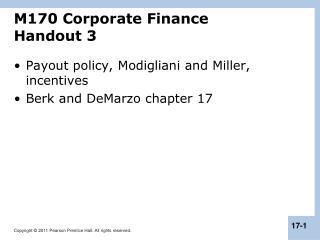M170 Corporate Finance Handout 3