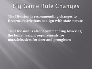 Big Game Rule Changes