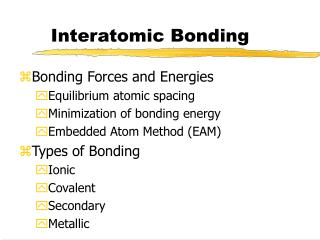 Interatomic Bonding