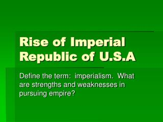 Rise of Imperial Republic of U.S.A