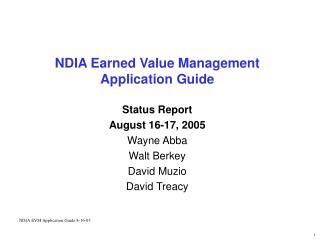 NDIA Earned Value Management  Application Guide