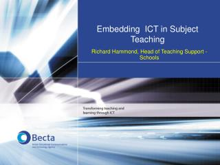 Embedding  ICT in Subject Teaching