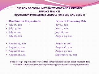 Deadline for Requisitions Payment Processing Date July 07, 2011				July 14, 2011