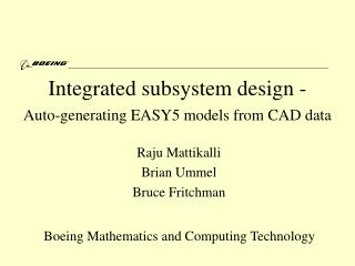 Integrated subsystem design -  Auto-generating EASY5 models from CAD data