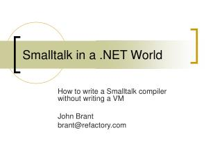 Smalltalk in a .NET World