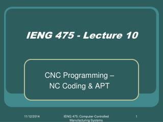 IENG 475 - Lecture 10