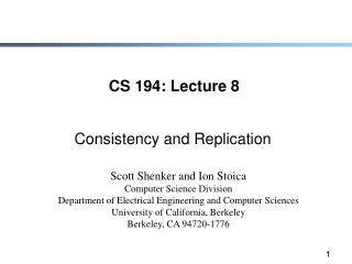 CS 194: Lecture 8