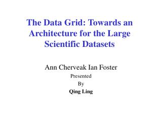 The Data Grid: Towards an Architecture for the Large  Scientific Datasets