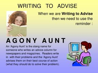 WRITING   TO   ADVISE