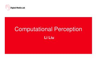 Computational Perception Li Liu