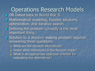 Operations Research Models
