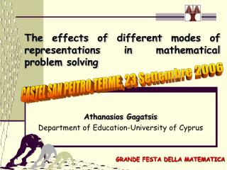 Τ he effects of different modes of representations in mathematical problem solving
