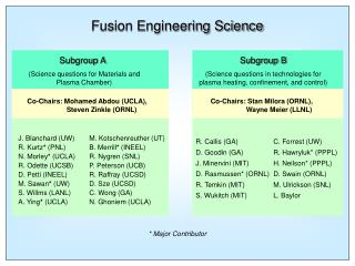 Fusion Engineering Science