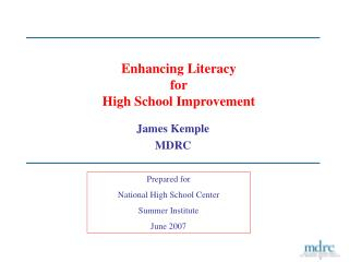Enhancing Literacy for High School Improvement