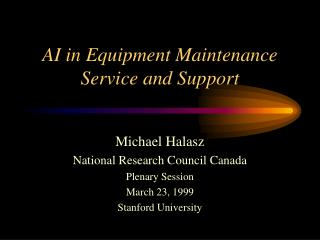 AI in Equipment Maintenance Service and Support