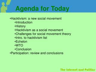 Hacktivism: a new social movement Introduction History Hacktivism as a social movement