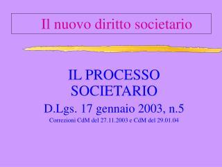 Il nuovo diritto societario