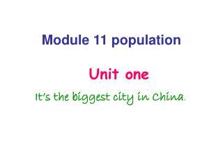 Module 11 population