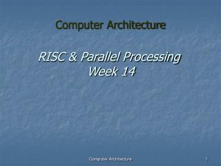 RISC & Parallel Processing  Week 14