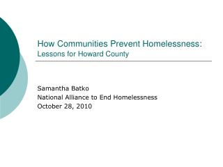How Communities Prevent Homelessness: Lessons for Howard County
