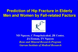 Prediction of Hip Fracture in Elderly  Men and Women by Fall-related Factors