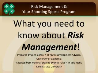 Risk Management & Your Shooting Sports Program