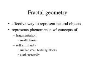 Fractal geometry