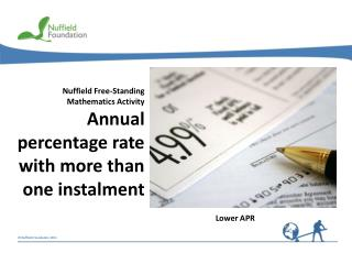 Nuffield Free-Standing Mathematics Activity Annual percentage rate with more than one instalment