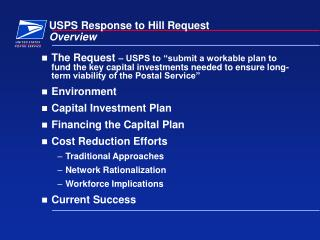 USPS Response to Hill Request Overview