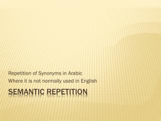 Semantic Repetition